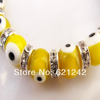 2015 HOT Exclusive Style Wholesale Evil eyes Beads Stretch Bangle Rhinestone Hand-Made Elastic Bracelet Women Jewelry EB317
