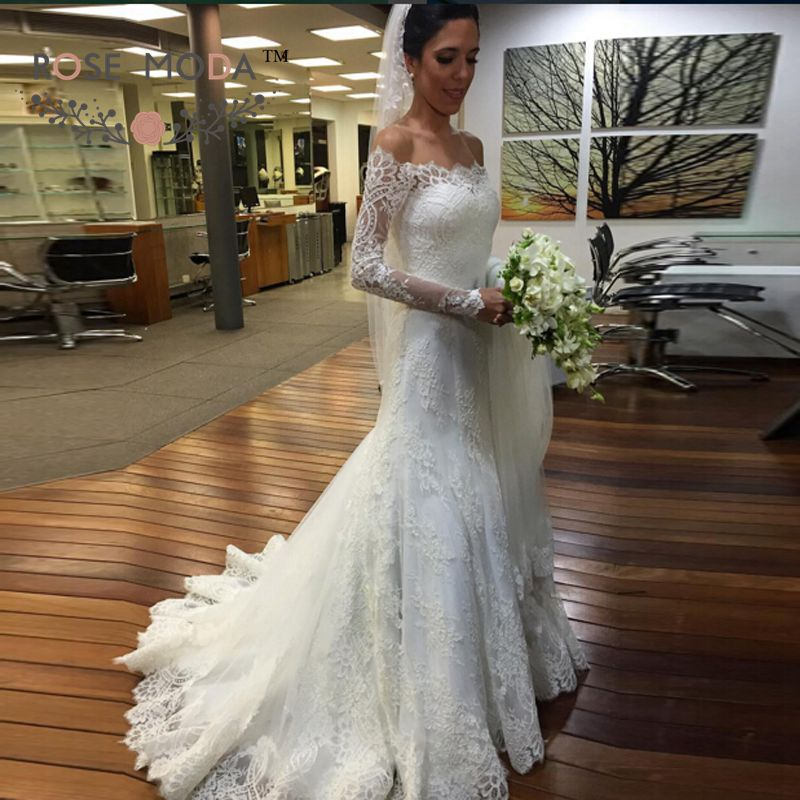 Off the shoulder long sleeves lace mermaid winter wedding for Trumpet mermaid wedding dress with sleeves
