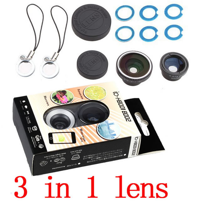 1Pcs Free shipping cellphone Fish eye Len + Macro + Wide len mobile phone universal magnetic 3 in 1 lens for iphone 5/5s Samsung