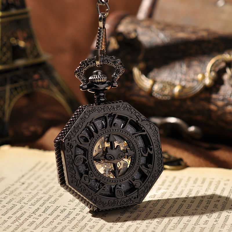 Gift Roman Numerals Black Antique Steampunk Watches Mechanical Pocket Watch With Necklace Vintage Skeleton Pocket Watch(China (Mainland))