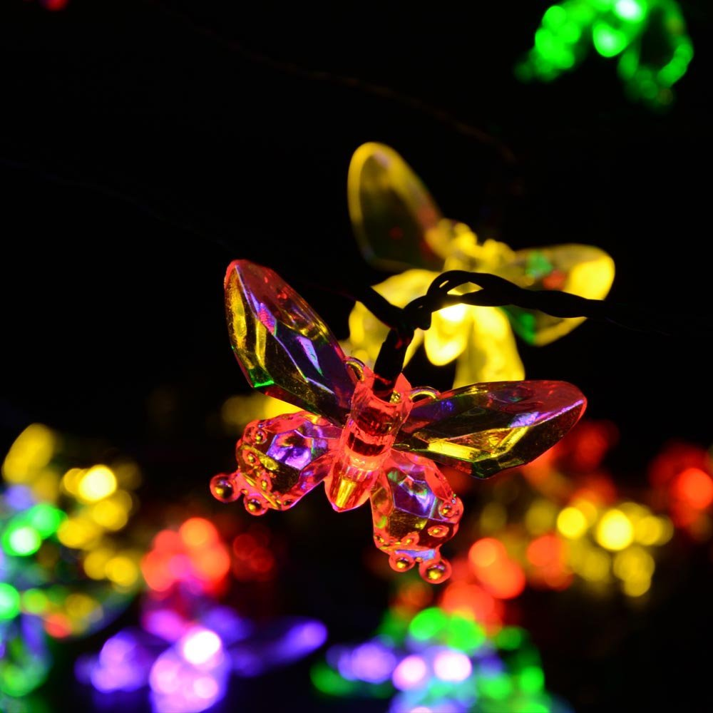 2-Pcs 40 LEDs Waterproof Colorful Butterfly Garland Fairy Solar Outdoor Lights for Christmas Garden Decoration Solar Led Light(China (Mainland))