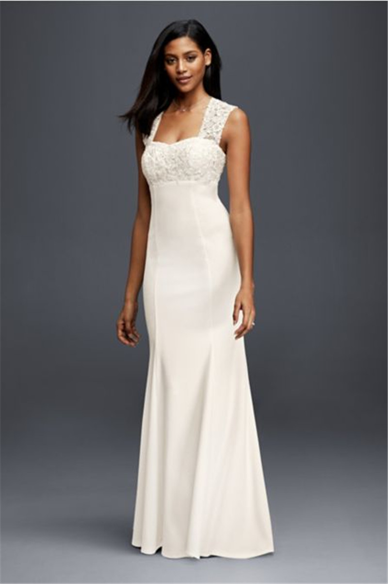 Lace and Crepe Sheath Wedding Dress 183625DB Cap Sleeves Applique Lace Top Elegant Wedding Day Look Sweetheart Bridal Dress(China (Mainland))