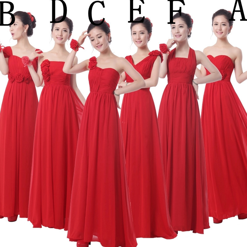 Bridesmaid dresses new 2015 double shoulder v neck chiffon for Maxi dresses for wedding party