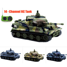 14CH RC Tank Toy 1:72 Great Wall 2117 Remote Control Tank Mini Tiger Battle Tank Toy Best Christmas Gift for Kids