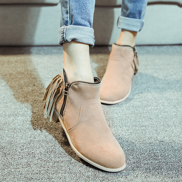 Women Ankle Motorcycle Boots Suede Leather Lace-Up Martin Woman's Spring Autumn Flats Shoes