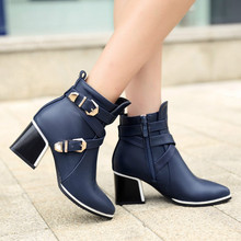 Plus Size 42 43 Winter Women's Fashion Boots Pointed Toe Ankle Boots Female Zip Chunky Med Heel Boots Buckle Black Shoes