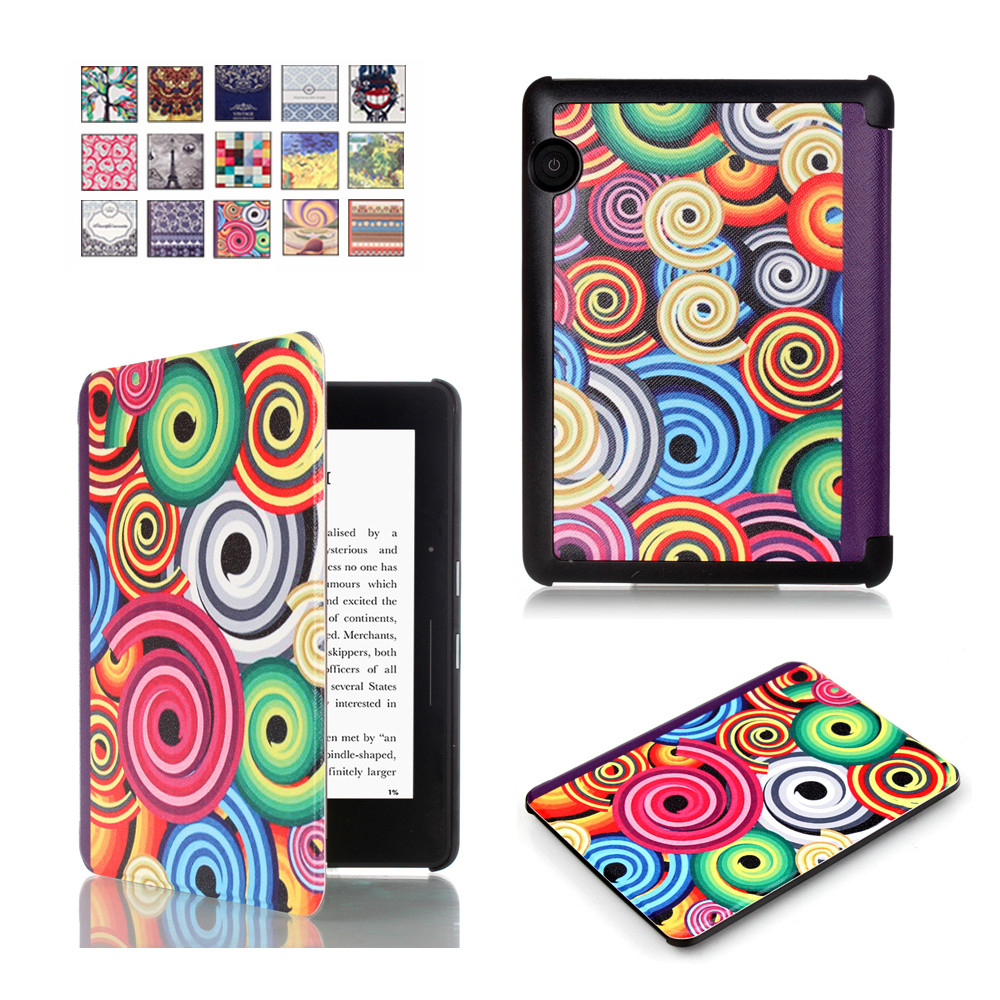 """For 2014 Amazon Kindle Voyage Case Leather Cover 6"""" Ereader Ebook Slim Magnetic Printed PU Leather Case Book Cover 15 Patterns(China (Mainland))"""