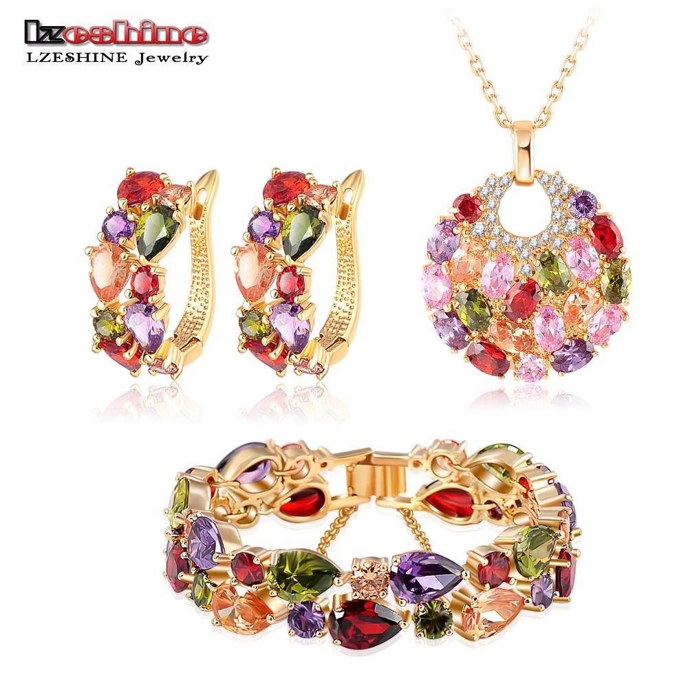 LZESHINE New 2015 Christmas Multicolor Zircon Women Bridal Jewelry Set Gold Plate Earring Stud/Necklace/Bracelet Wedding Jewelry(China (Mainland))