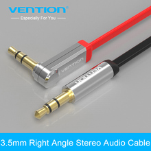 Buy Vention 3.5mm jack Audio Cable male male Extension Cable 90 Degree Right Angle Flat Aux Cable Car/Headphone/PM4/PM3 for $1.92 in AliExpress store