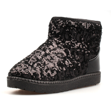 Girls Boots Children's Winter Snow Boots Boys Warm Shoes Kids Sequins Vamp Rubber Sole Fashion Medium-sized Child Boot(China (Mainland))