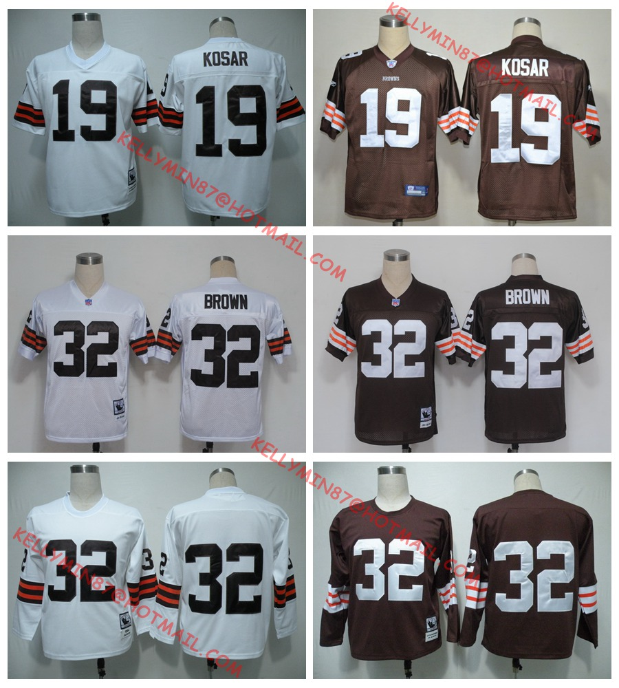 100% Stitiched,Cleveland Browns,Jim Brown,Bernie Kosar,Throwback for men(China (Mainland))