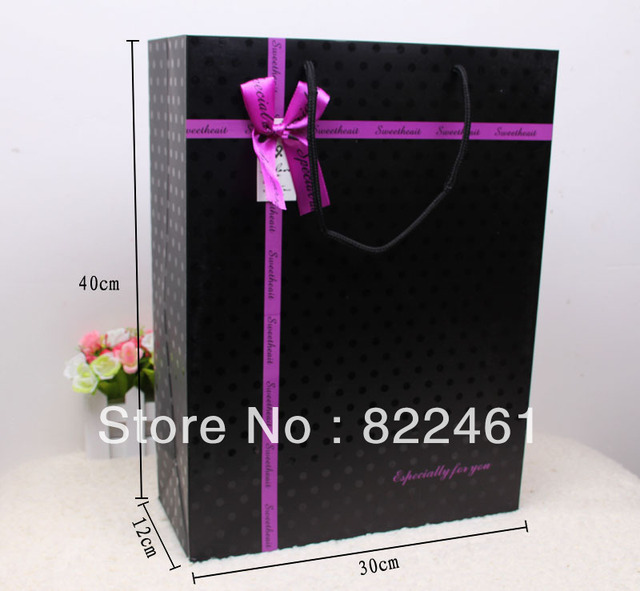 40*30*12CM New Korean black UV gift bag bag widen the bottom rectangle gift bag paper bags wholesale