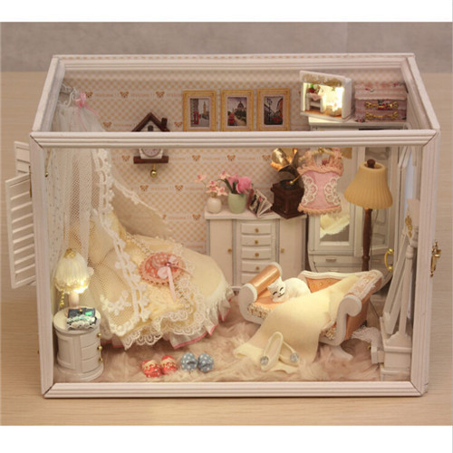 DIY Wooden House Dollhouse 3D Kit w/Light Model Perfect Wedding Dress Doll - YangYangYang Decoration store