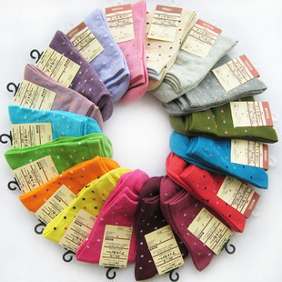 Hot Sale Women Solid Candy Color Dot Short Sock Fit For 34-39 Yards Cute SOX Free Shipping 20pair/lot  W3260