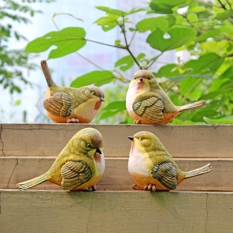Resin birds garden decor sculpture animal ornaments home for Artificial birds for decoration