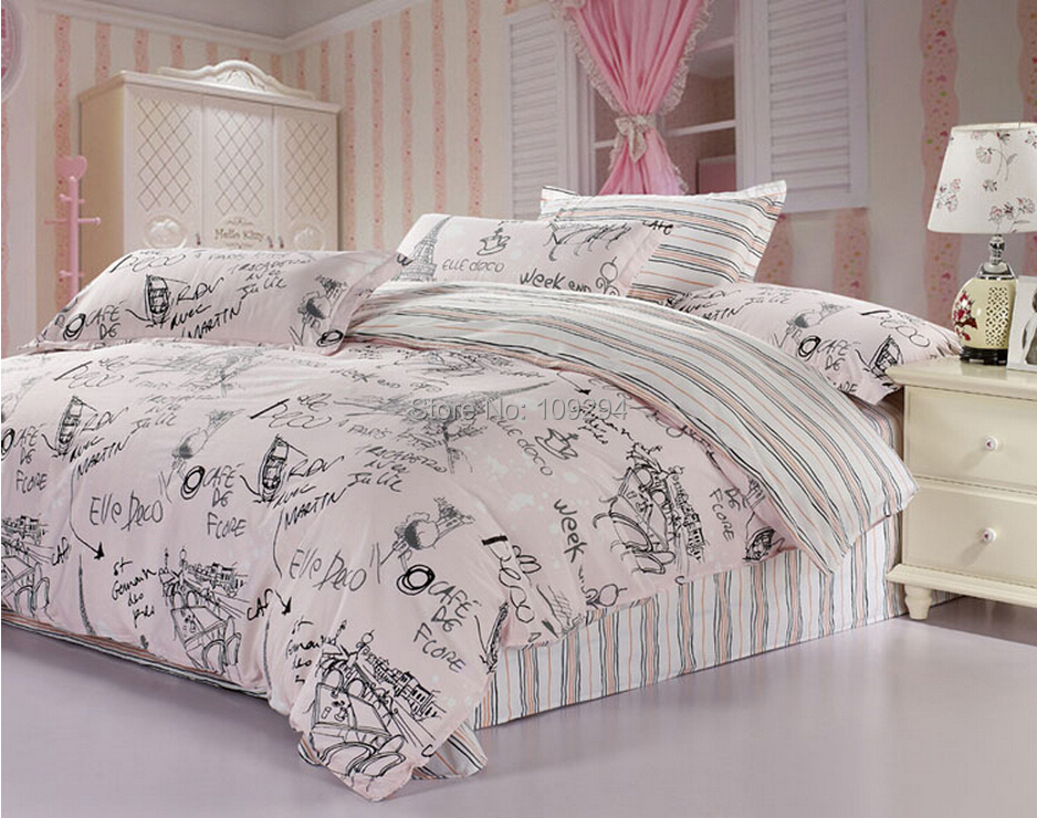 100 Cotton Pink Gray Scrawl 4pcs Full Queen Size Bedding Set Quilt Cover Sheet Pillowcase