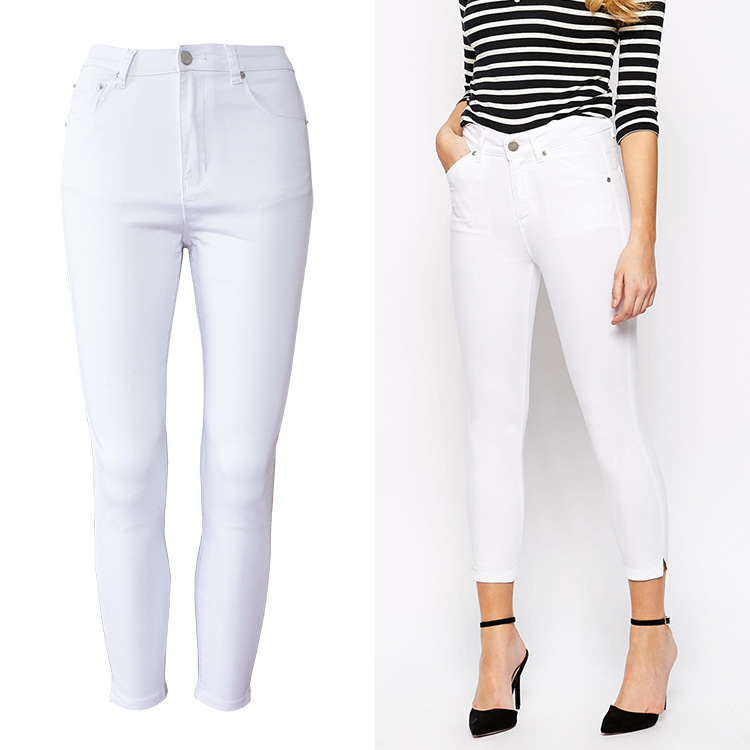 white stretch jeans for women - Jean Yu Beauty