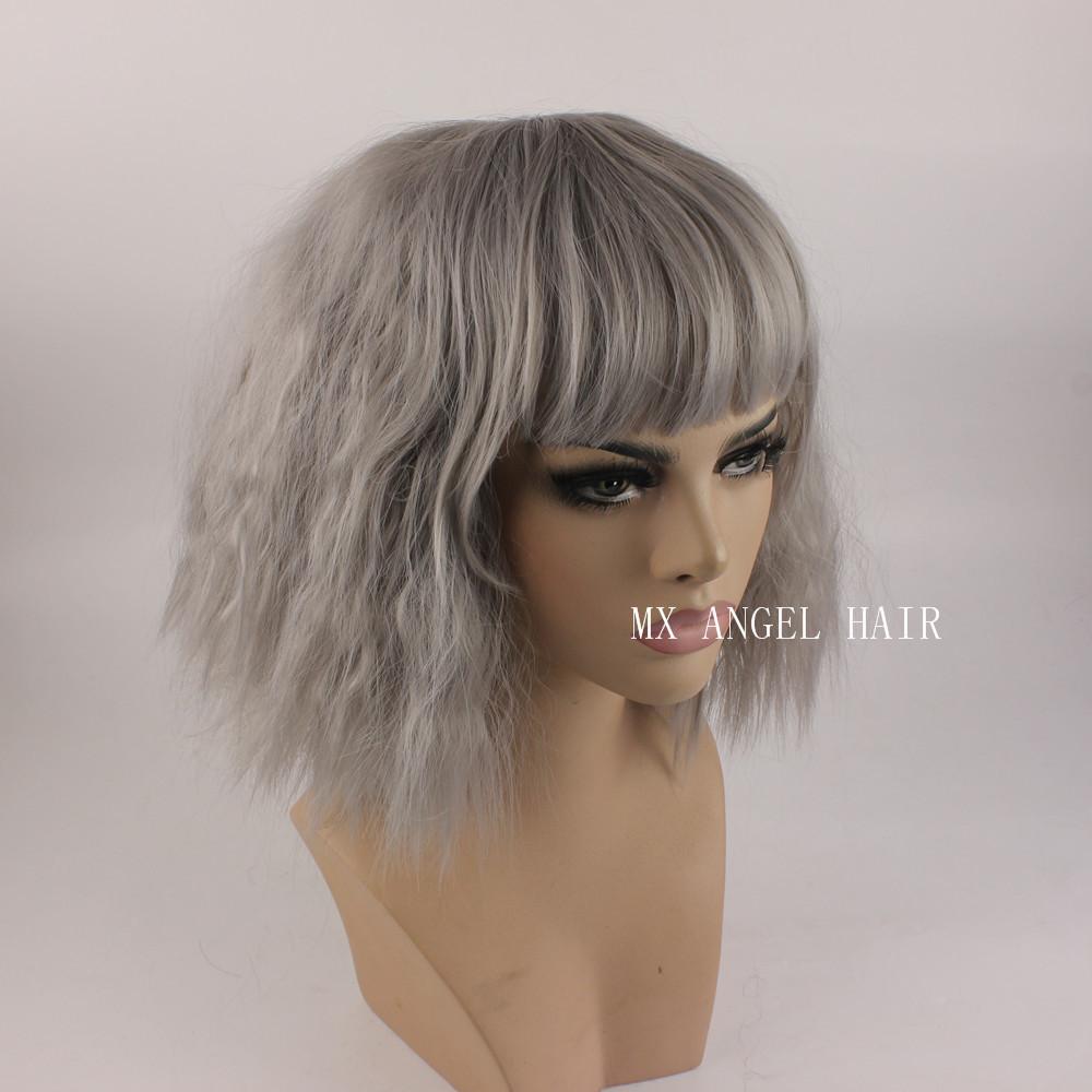KA Beautiful Curly Medium Long Grey Synthetic No Lace Hair Wigs Heat Resistant Heavy Density Women Neat Bang Wigs