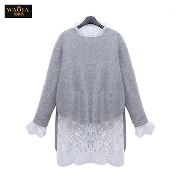2016 Plus Size Women Dresses Winter Autumn Vestidos Sweater Long Sleeve Party Knitting Dress Lace Vestido Knitted 2 Pieces Set