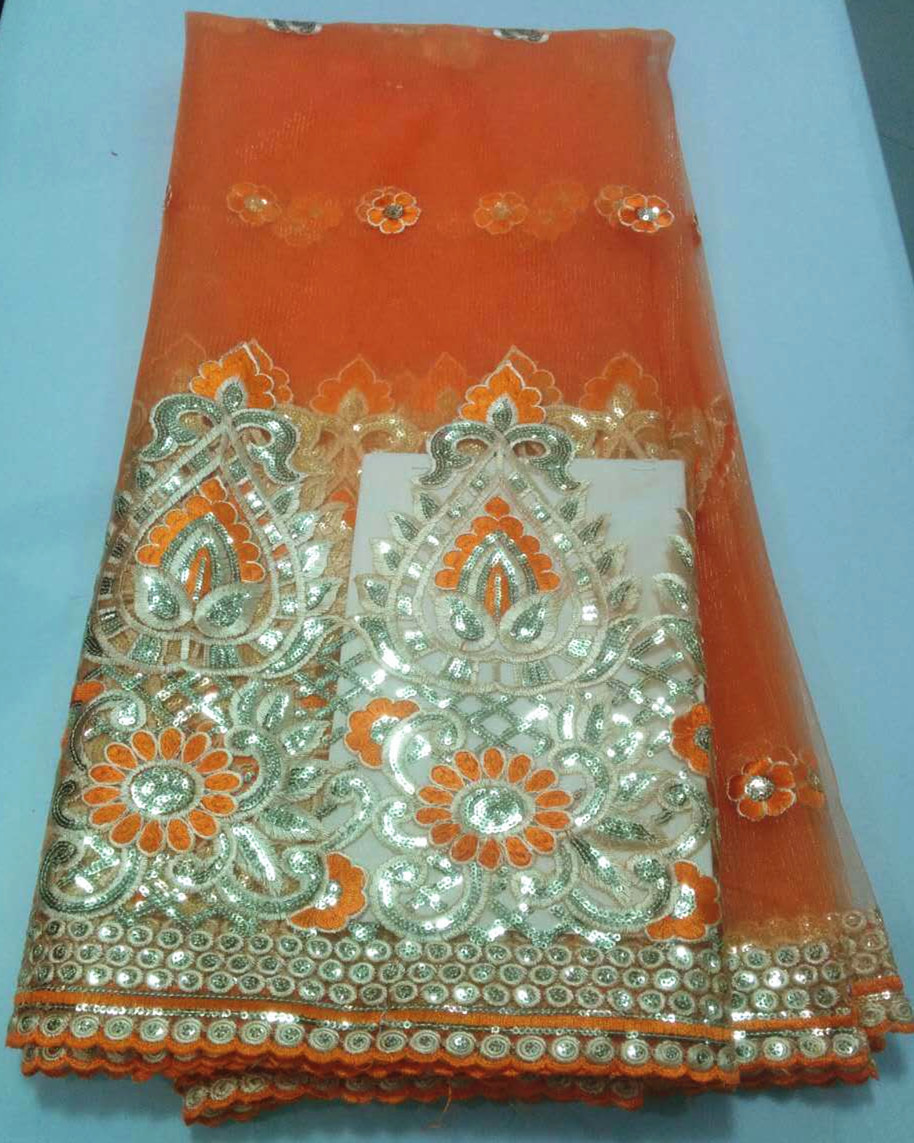 Здесь можно купить  (5yards/lot)new african lace net mesh fabric with george design in orange with sequins for sewing nigerian bridal lace (5yards/lot)new african lace net mesh fabric with george design in orange with sequins for sewing nigerian bridal lace Дом и Сад