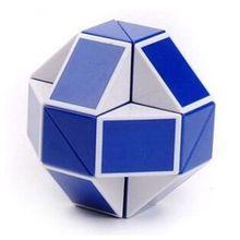 Nuevo 2014 Puzzle giro mágico Puzzle Toy forma de la serpiente de juguete juego cubo 3D blanco / azul