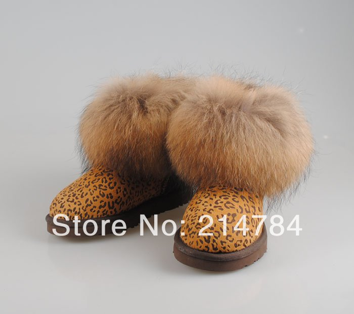 Real sheepskin leather nature fur wool lined fashion women ankle boots winter shoes brand name real nature fox fur leopard print<br><br>Aliexpress