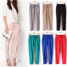 Women Pants 2015 Autumn Plus Size Chiffon Pants Casual Harem Pants Elastic Waist Women Trousers Pantalones Pantalones Mujer(China (Mainland))