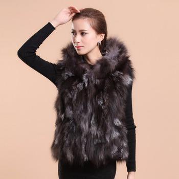 2014 новый настоящее настоящее серебро фокс меховой жилет с большим капюшоном жилет ...