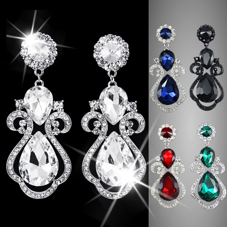 Fashion Silver Wedding Earrings Long Crystal Water Drop Big Earrings for Women Brides Vintage chandelier earrings big ers-g74(China (Mainland))