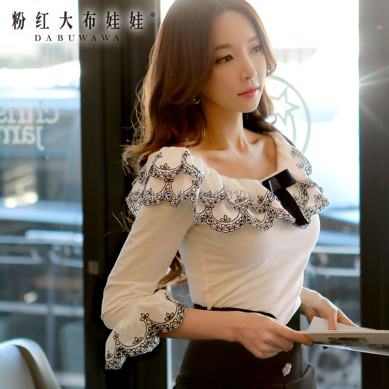 dabuwawa original Spring and summer 2015 slim fashion elegant double collar shirt t-shirt women girlОдежда и ак�е��уары<br><br><br>Aliexpress
