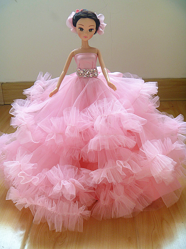 Autonomous design handmade Items For Ladies Doll Equipment Night Swimsuit Wedding ceremony Pink Gown Garments For Barbie 1:6 Doll BBI0079