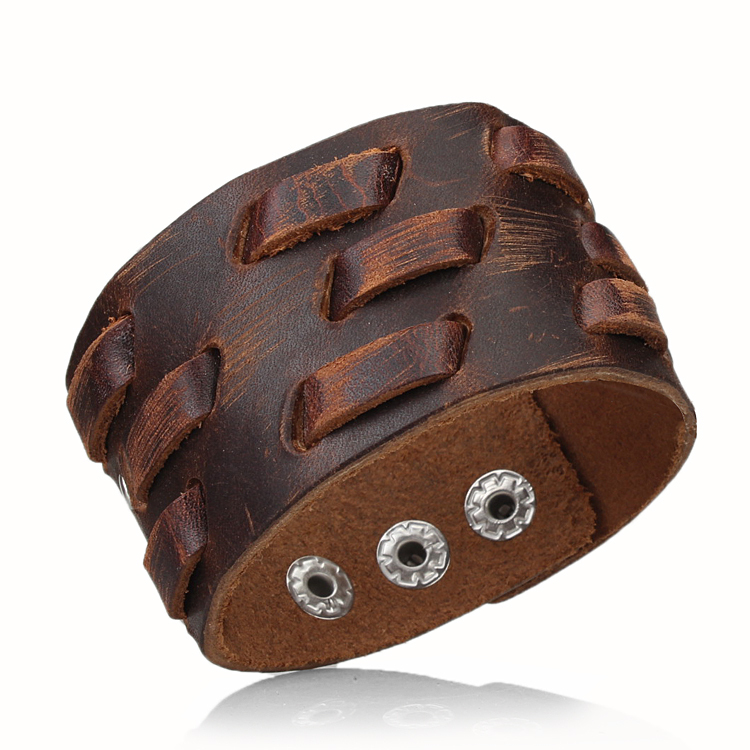 2015 Newest Arrival Men's Retro Leather adjustable Buckle Punk Cuff Bangle Wristband Bracelet for cool men  best birthday gift