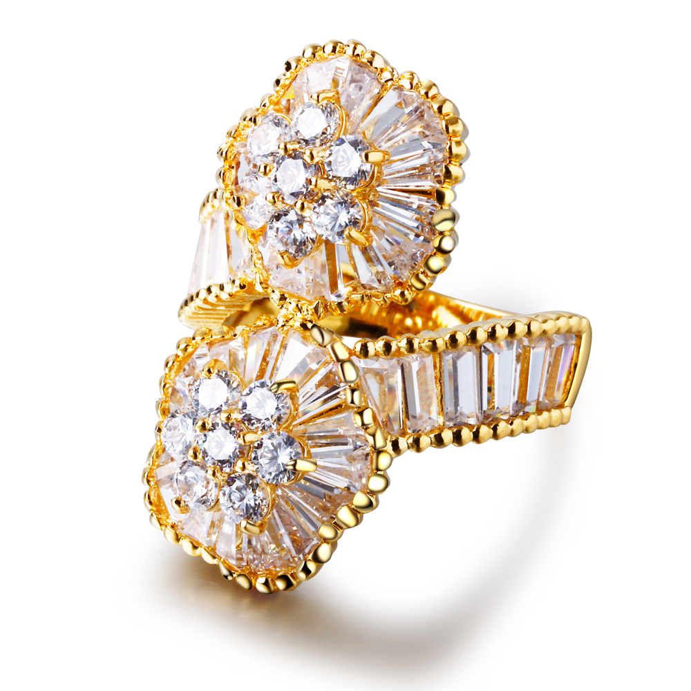 Mansaku 18K Gold Plated Women Wedding Rings Flower Shape Romantic Women Luxurious Rings(China (Mainland))