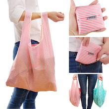 1 X Fashion Unisex Women Men Reusable Shopping Bag Grocery Star Dot Striped Handbags Tote Environmental Folding Bags(China (Mainland))