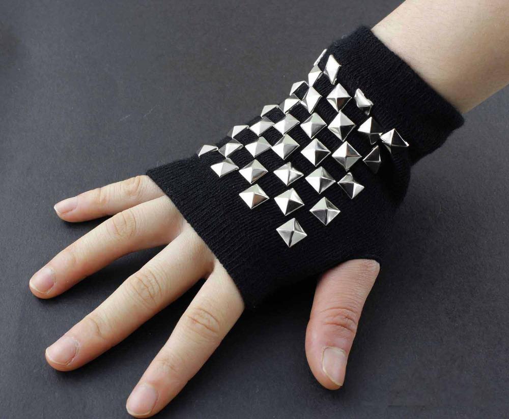 Cotton Women and Girl Metal Studded Revit Punk Biker Fingerless Gloves(China (Mainland))