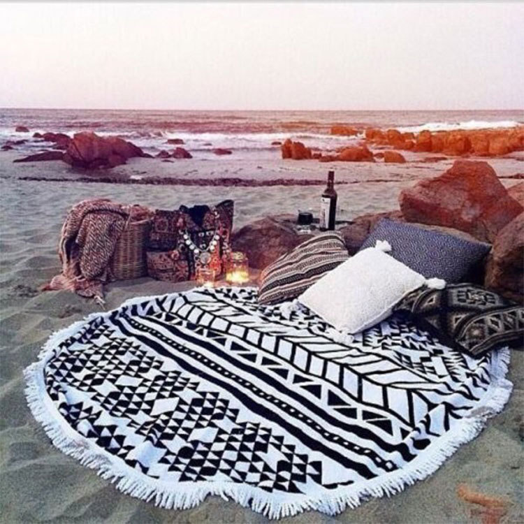 2015 New Summer Large Microfiber Printed Round Beach Towels With Tassel Circle Beach Towel Serviette De Plage Free shipping(China (Mainland))