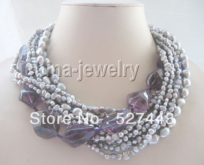 Wholesale free shipping &gt;&gt;1810row gray FW pearl and faced amethyst necklace<br>