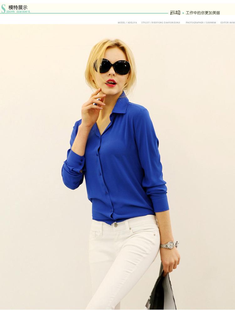Осень длинная - рукав рубашка женское шифон женщины в приталенный женщины блузы прямых продаж пуговица сплошной одежда