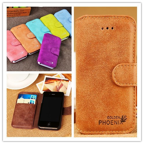 Newest Top Luxury Golden Phoenix Genuine Original Leather Case For Apple iphone4G 4s Cover Wallet Case(China (Mainland))