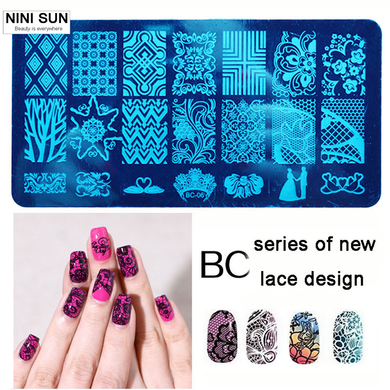 Lace Steel Nailart Stamping Plate Nail Seal Manicure Polaco Printer Tool stamping transparent Nail Stamp Patterns