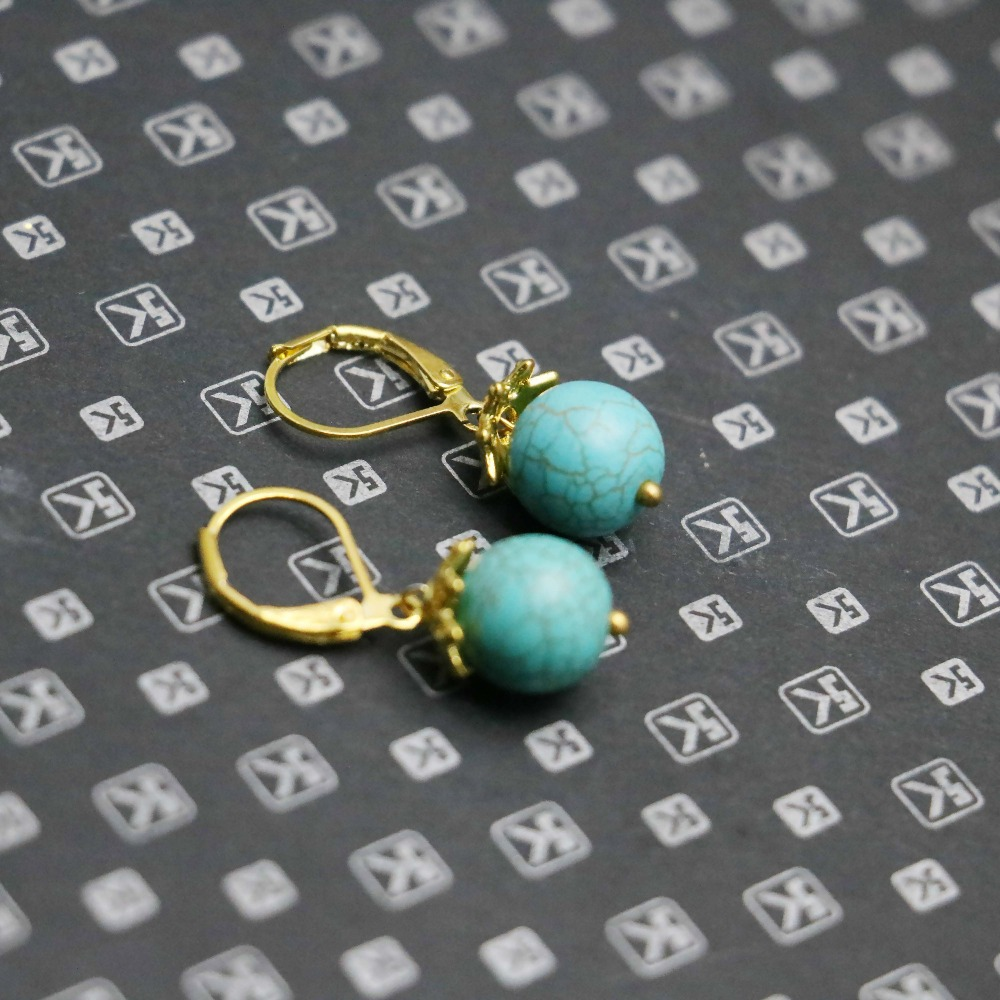 10mm Retro style Blue Turquoise Chalcedony Natural Stone 18k Gold Earrings gifts for women girls ladies Earbob Eardrop jewelry(China (Mainland))