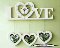 SALE!!!    Free shipping wholesale and retail garden style LOVE shape art wall clock with photo frames