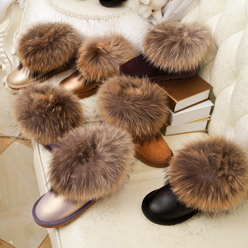 Girl Winter Short 100% Natural Larg Fox Fur Snow Boots Cowhide Raccoon Fur Flat Genuine Leather Boots Cotton-padded Shoes(China (Mainland))