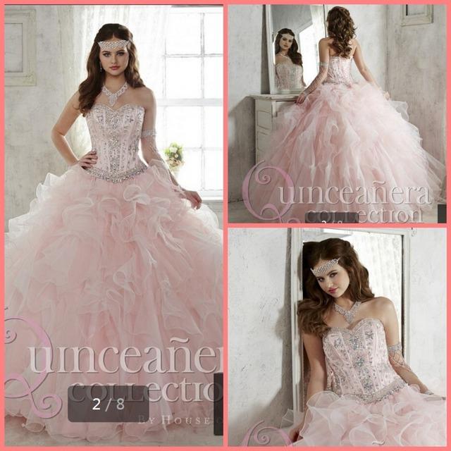 Платье женщины 2015 светло-розовый сладкие 16 Quinceanera платье платье милая раффлед ...