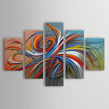 Oil Paintings Set of 5 Modern Abstract Colorful Circles Hand-painted Canvas Wall Art with Framed Ready to Hang(China (Mainland))