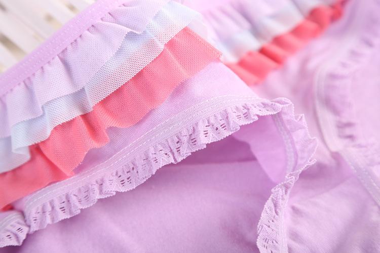 Min order 7 2014 Hot sale Brand Sexy Lace Ruffle calcinha female underwear women Modal Women