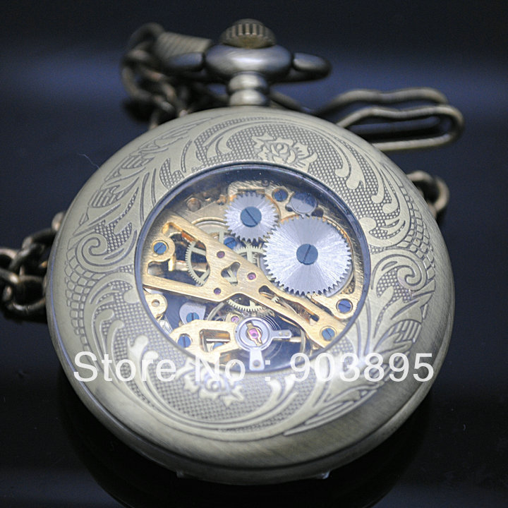 Vingtage SWITZERLAND Bronze Copper Tone hand wind skeleton Mechanical Fob Pocket Watch Mens Pendant Watch Chain