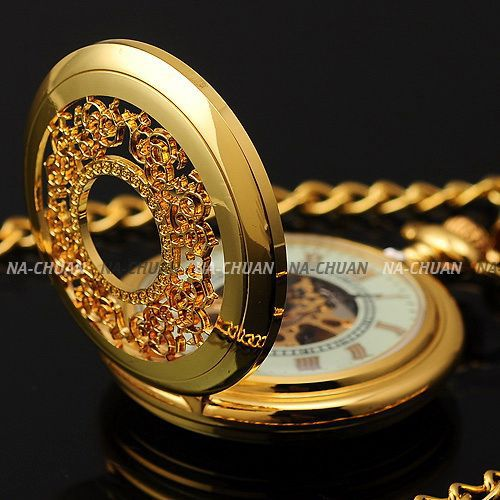 Fashion Classic Retro Hollow Gold White Dial Skeleton Hand Winding Mechanical Analog Men Chain Necklace Pocket Watch/ WPK020(China (Mainland))