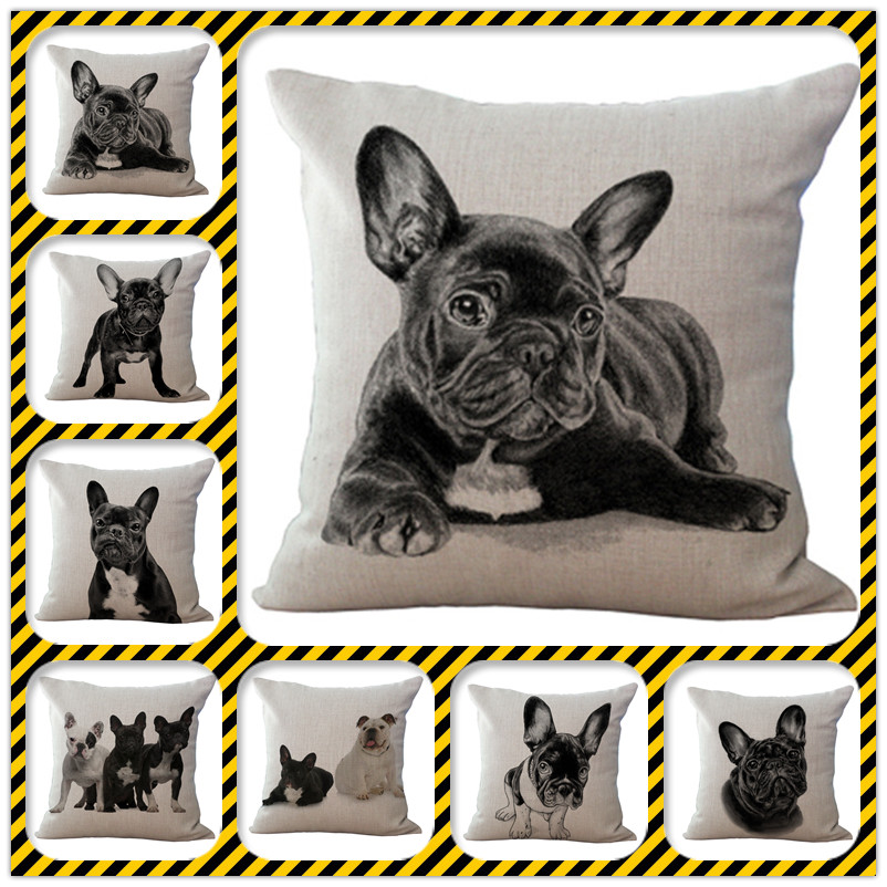 Factory Direct Supply Decorative Pillow French Bulldog Almofadas Cojines Decorativos Home Decor Cushions(China (Mainland))