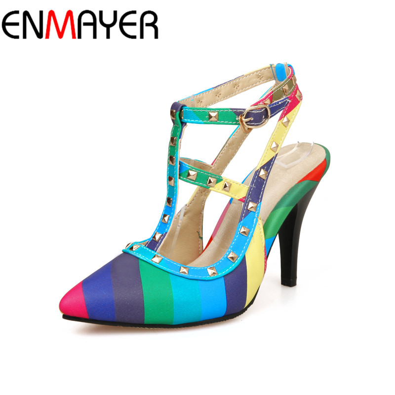 2016 New rivet shoes women summer high quality pointed toes high heels shoes thin heels pumps size 34-47 Shoes Women Pumps Sale